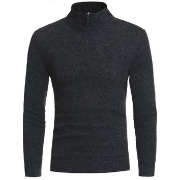Fashion 2017 Men's Brand Casual Sweater Cotton Zipper Turtleneck Long Sleeve Slim Fit Sweaters And Pullovers for Male