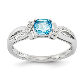 Sterling Silver Cushion Light Swiss Blue Topaz & Diamond Ring