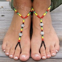 Rasta Barefoot Sandals | Foot Jewelry @ RastaEmpire.com