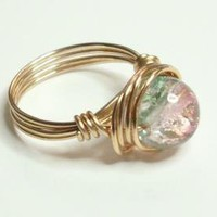 Pink Green and Gold Wire Wrapped Ring by RingsandThings on Zibbet