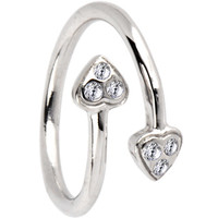 Sterling Silver 925 Cubic Zirconia PAVED HEART Toe Ring | Body Candy Body Jewelry