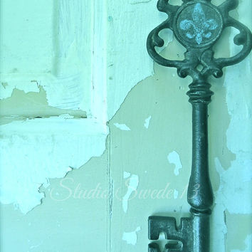 Shabby Chic Photography, Still Life Photography, Old Key, Fleur De Lis, Rustic Art, Skeleton Key, Farmhouse, Home Decor, Turquoise Art