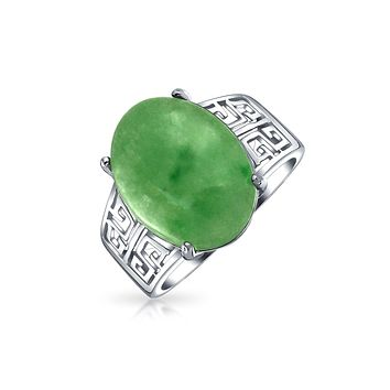 Oval Dyed Green Jade Greek Key Filigree Band Ring 925 Sterling Silver