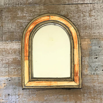 Wall Mirror Ornate Gold Mirror Ceramic and Brass Mirror Wood Framed Mirror Wood Mirror Decorative Wall Mirror Hanging Wall Mirror