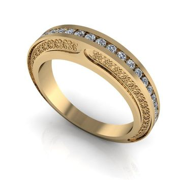 Diamond Wedding Band - Inlay Wedding Band - 14 kt Gold Wedding Band
