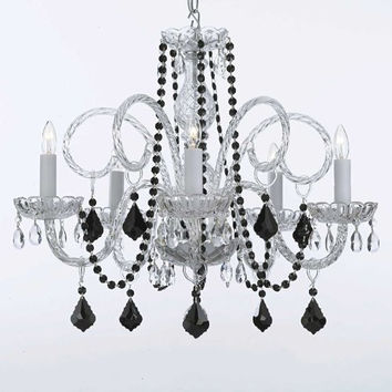 Murano Venetian Style All-Crystal Chandelier With Black Color Crystal! - A46-Blackb2/385/5