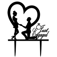 Engagement Cake Topper,Just Engaged Cake Topper,Wedding Cake Toppers,Engagement Party Decorations,Engagement Party Ideas,Engagement Topper