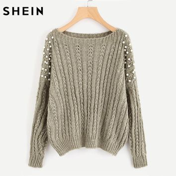 SHEIN Pearl Embellished Mixed Knit Jumper Loose Casual Fall Women's Sweaters Grey Long Sleeve Pullovers Sweaters