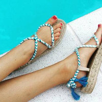 Espadrille sandals, lace up sandals, platform sandals, braided sandals, boho t-strap sandals