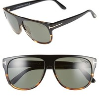 Men's Tom Ford 'Kristen' 59mm Polarized Aviator Sunglasses - Black Gradient Havana/ Green