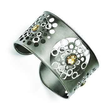 Leslie's Sterling Silver Ruthenium-plated Citrine Cuff Bangle F530