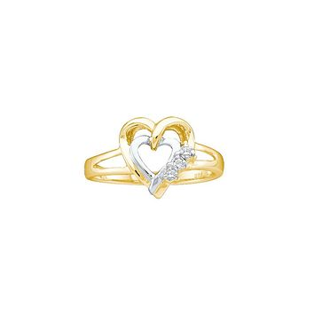 Two-tone Sterling Silver Womens Round Diamond Double Heart Ring .03 Cttw Size 5