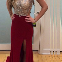 Newest Burgundy Beading Backless Long Prom Dress E56