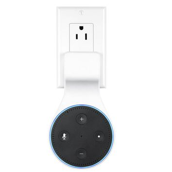 SKYREAT Echo Dot Outlet Wall Mount Holder with Short Cable ,No Cords Mess Echo Dot Accessories Mount Hanger Stand for Alexa Echo Dot 2nd Generation Puls in Bedroom, Bathroom, Kitchen