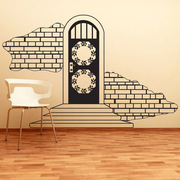 Vinyl Wall Decal Sticker Door with Brick Wall #OS_DC639