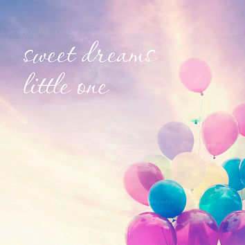Balloon photography, typography, whimsical, nursery decor, pastel photograph, pink, purple, sky, custom print, inspirational, baby room