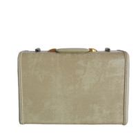 Vintage Samsonite Luggage Marbled Beige 1950s Schwayder Bros. Medium Size - Olive Colored Lining