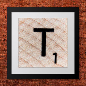 DIY Wall Art, Letter T-Personalized Word Art, Instant Download, Printable Letter, Scrabble Wall Art, Alphabet Art, Downloadable Image, Print