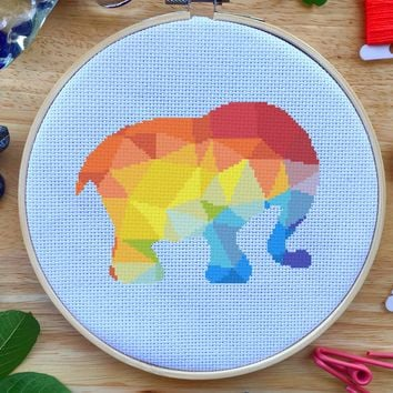 Rainbow Geometric Elephant Cross Stitch Kit