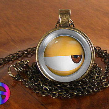 Despicable Me Minions Eye Necklace Pendant Jewelry Charm Minion Art Gift Present