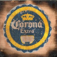 wooden Corona sign (image transfer)