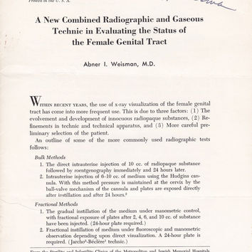 A New Combined Radiographic and Gaseous Technic in Evaluating the status of the Female Genital tract