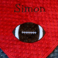 Personalized baby blanket-red and charcoal grey baby boy football- stroller blanket