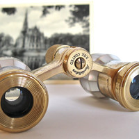 Opera Glass Binoculars Brass and Mother of Pearl by ToucheVintage