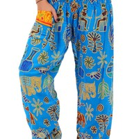 Blue Tribal Elephant Harem Pants