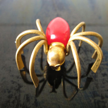 Vintage Bakelite Pin Red 3-D BRASS Spider Brooch/ Bakelite Pin/ Spider Pin/