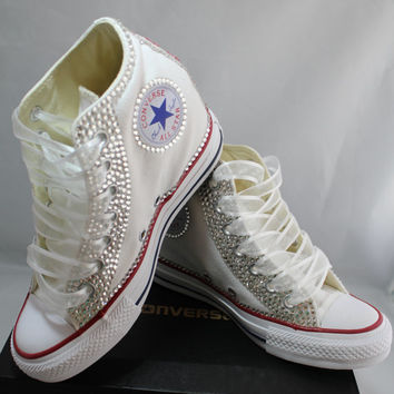 Wedge Bridal Converse- Wedding Converse- Bling   Pearls Custom C fb8e2dc619