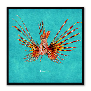 Lionfish Aqua Canvas Print Picture Frames Office Home Décor Wall Art Gifts