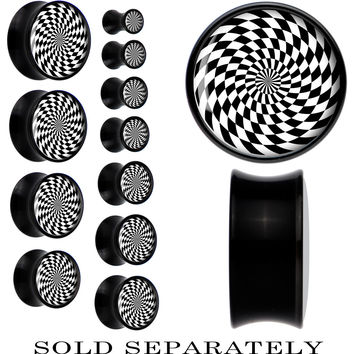 Black Acrylic Black and White Spiral Saddle Plug