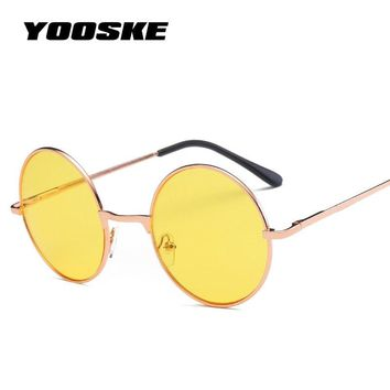 YOOSKE Vintage Round Sunglasses Women Ocean Color Lens Mirror Sunglasses Female Brand Rose Gold Metal Frame Circle Glasses UV400
