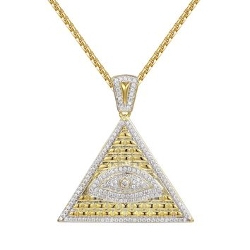 Egyptian Pyramid Evil Eye Iced Out Pendant Free Chain