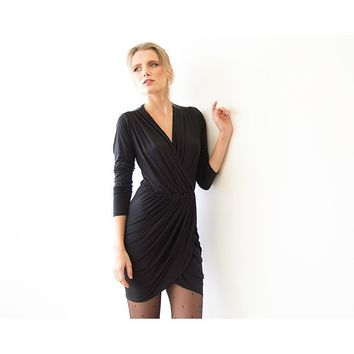 Black long sleeve wrap mini dress  (Taupe, Coral, or Pink) 1035