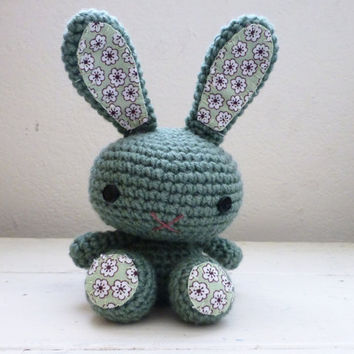 Bunny stuffed animal, crochet amigurumi, crochet bunny, bunny art doll, rabbit doll, ready to ship, hand crocheted, cute bunny doll