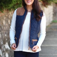 Quilted Puffer Vest with Suede {Navy}