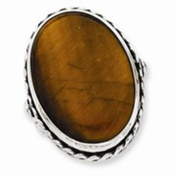 Sterling Silver Antiqued Oval Tiger Eye Ring