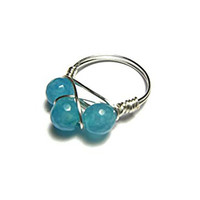 Blue Jade Wire Wrapped Ring - Size 7 - Past, Present and Future Ring
