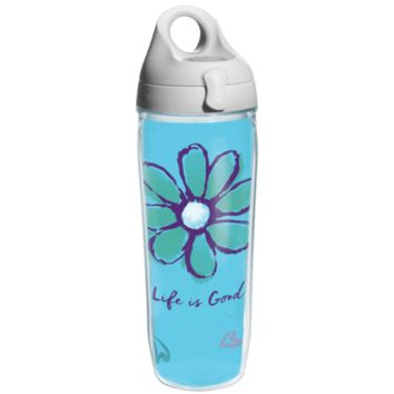Life is Good Daisy Tervis Water Bottle with Grey Lid
