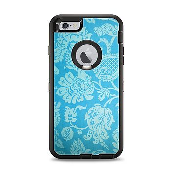The Subtle Blue Floral Lace Pattern Apple iPhone 6 Plus Otterbox Defender Case Skin Set