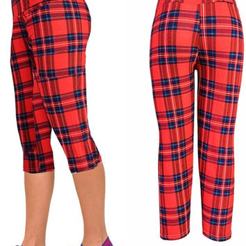 Yomsong Red Plaids Leggings High Waisted Floral Printing Yoga Pants Lady's Fitness Workout Casual Pants Gym Wear = 1933306692
