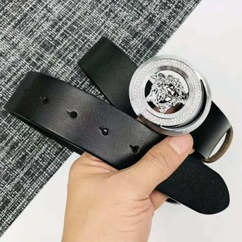 Versace Fashionable Men Woman Diamond Smooth Buckle Leather Belt Black