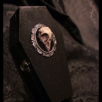 Gothic Coffin Jewelry Skull Cameo trinket box by SinisterVanity