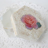 Decorative Gift Box Victorian style antiqued white with gold crackle finish with a decoupaged pink rose, trinket box, small hexagonal box