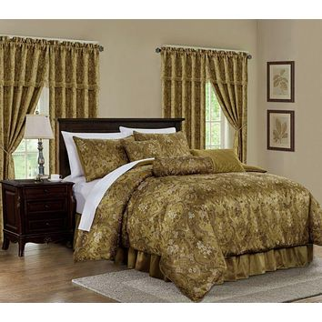 Luxury Gold Floral Jacquard Embroidered Comforter - 7 Piece Set