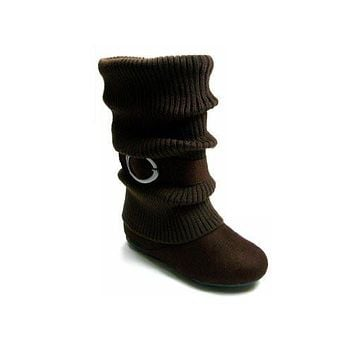 Girls Kids Ositos Daysi-K Brown Tall Ruched Fold Over Knit Boots