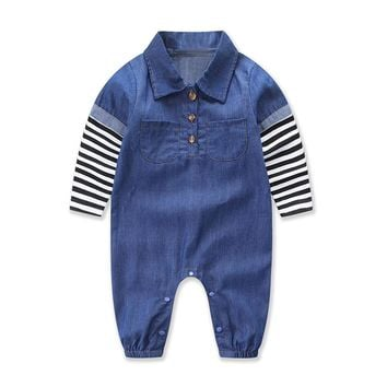 Baby Boys jeans jumpsuit spring baby boys Clothes Denim long sleeve romper Turn-down Collar boys jumpsuit outfits One piece