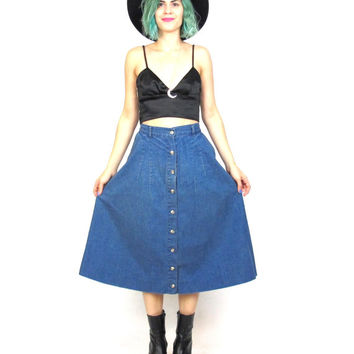 90s Grunge Denim Skirt Button Down Front Full Jean Skirt with Pockets Midi Knee Length High Waist Skirt  (L)